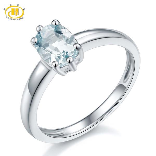 Bijoux en pierre de Hutang 1.08ct Natural Aquamarine solide 925 Sterling Silver Solitaire Anneau Pierre précieuse Fine Engagement bijoux de mariage
