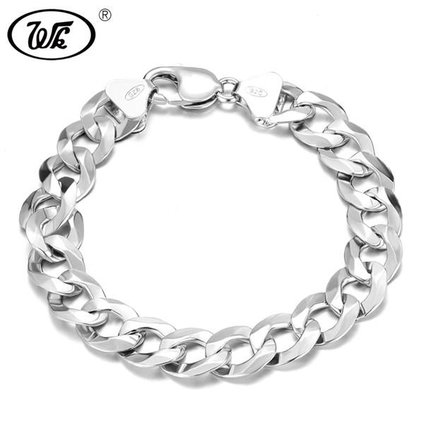 WK Long Thick Men Male Sterling Silver Bracelet 925 Hip Hop Rapper Cuban Curb Chain Bracelet 4MM 5MM 6MM 7MM 8MM 9MM 12MM BM006