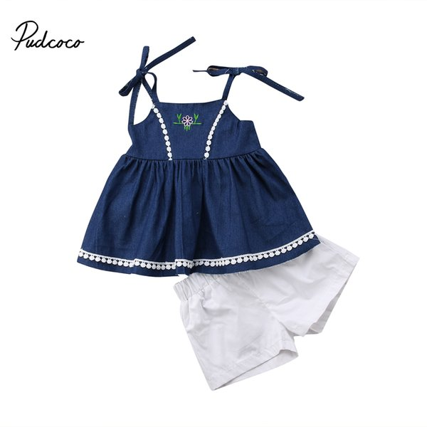 a7fcd6aa4c99 Toddler Kids Girls Summer Clothing Strap Denim Tassel Tops Vest White  Shorts 2Pcs Outfits Set Children