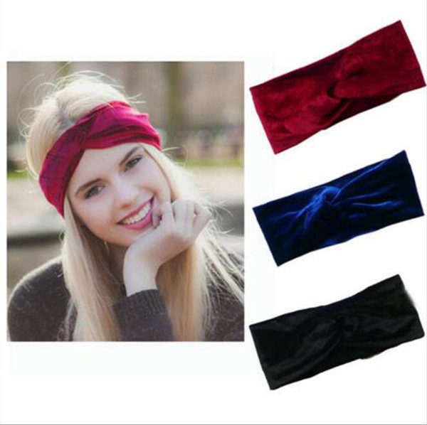 26 Colori Donne Velet Turban Head Wrap Hairband Winter Ear Warmer Fascia Color Solido Croce Fascia per Capelli Accessorio CCA9080 30 pz