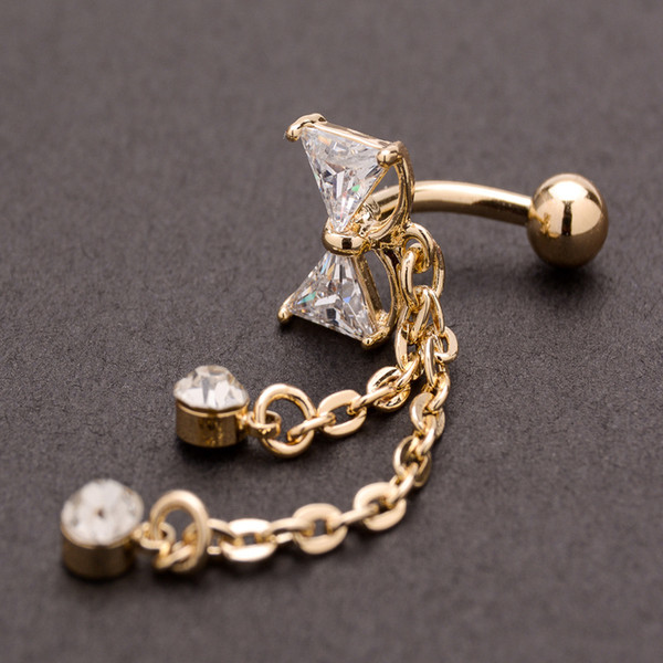 Bow Navel Ring Reverse Belly Ring Navel Button Body Piercing Ornament Navel Pin Jewelry for Women