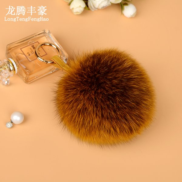 13cm Large Real Fluffy Leather Pompom Fox Fur Ball Key Chains Fur Pom Pom Keychain For Car Women Bag Charm Pendent Accessories
