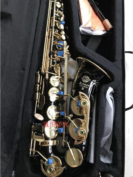 Mark VI Latón Grabado Eb E-Flat Saxofón Alto Saxo Negro Botones de concha de perla con estuche Guantes Cepillo de paño de limpieza Cepillo