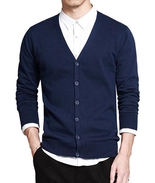 2018 New Fashion Men Autunno Inverno Button Down Maglioni con scollo a V manica lunga in cotone cardigan maglione Slim Fit (nero + grigio + blu)