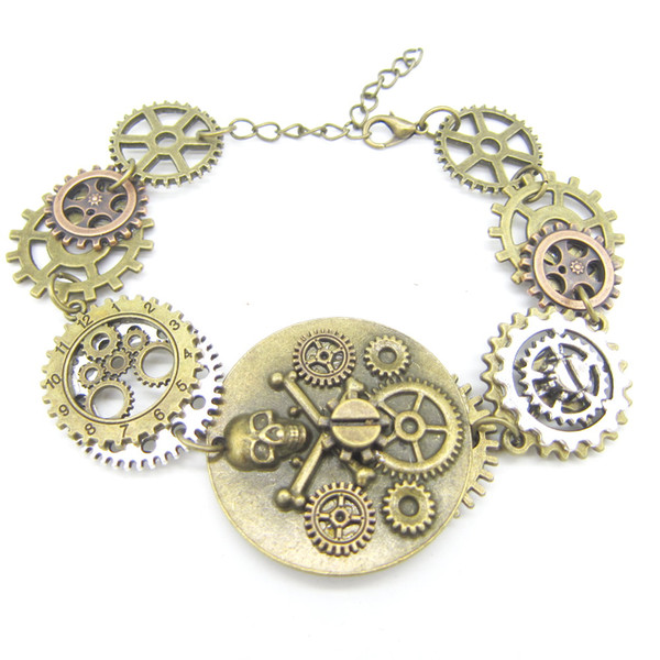 Bronze OX Pirate Skull DIY Gears Linked Steampunk Bracelet Vintage Jewelry