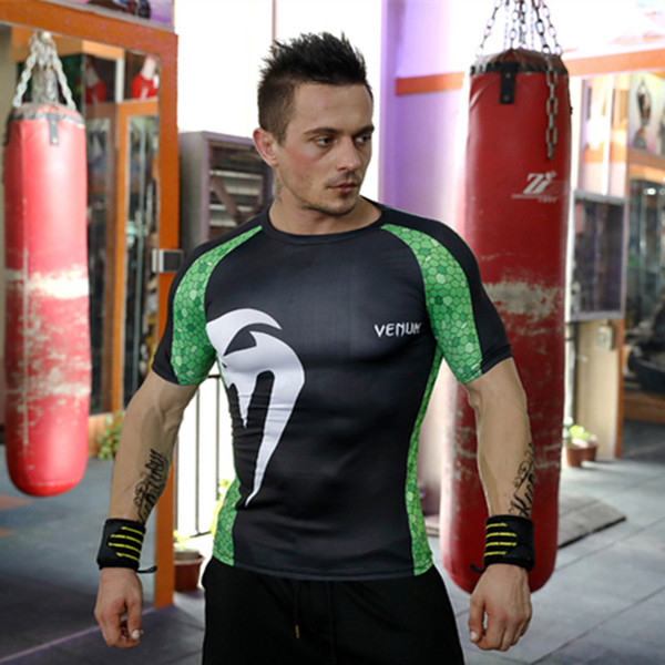 Hot sale men compression shirt short sleeve sports running quick dry tights mens fitness gym bodybuilding t-shirt baseball training tops