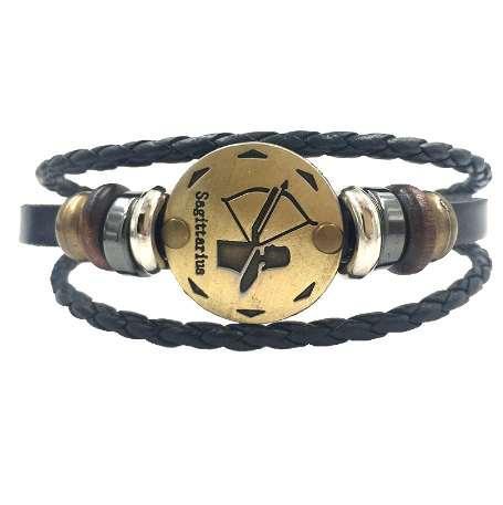 12 Constellations Bracelet 2018 Nouveaux Bijoux De Mode En Cuir Bracelet Hommes Casual Personnalité Signes du Zodiaque Punk Bracelet XY160496
