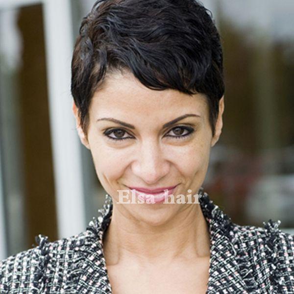 High Density Human Natural Hair Longer Pixie Cuts Short Layered Cut Wigs For Black Women Thick Hair Glueless Full Wigs