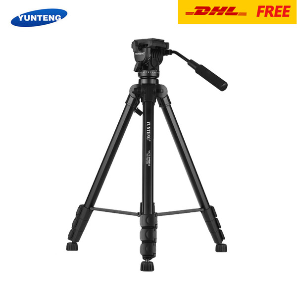 YUNTENG VCT-999RM Video Tripod 4-Section Adjustable with Fluid Pan & Tilt Head for Canon Nikon Sony DSLR ILDC Camera