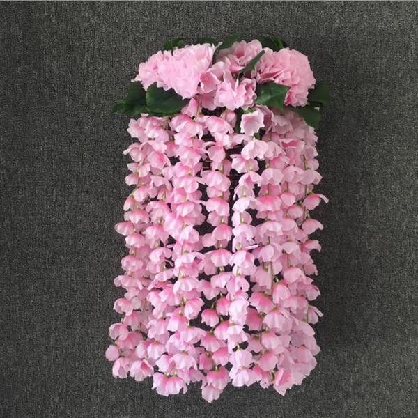 Großhandel Künstliche Hortensie Wandbehang Rattan Silk Bouquet Zweig Hochzeit Balkon Simulation Blume Pflanze Wanddekoration