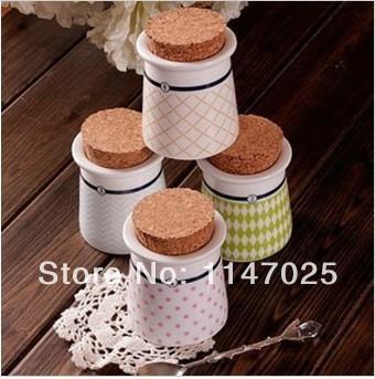 1PC LONGMING HOME Zakka plaid stripe dot hat cork ceramic seal bottle flavorfully jar D0106