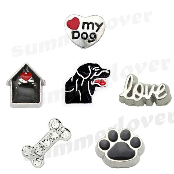 6Pcs/Lot Love Black Dog Lab Paw Bone dog house love my dogs floating charms set for memory locket Dog lover gift