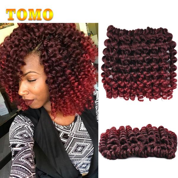 TOMO Jamaican Bounce Twist Hair Ombre Burgundy Crochet Braids Big Size Wand Curl Braiding Hair 8inch 20 Strands/pack Crochet Hair Extensions