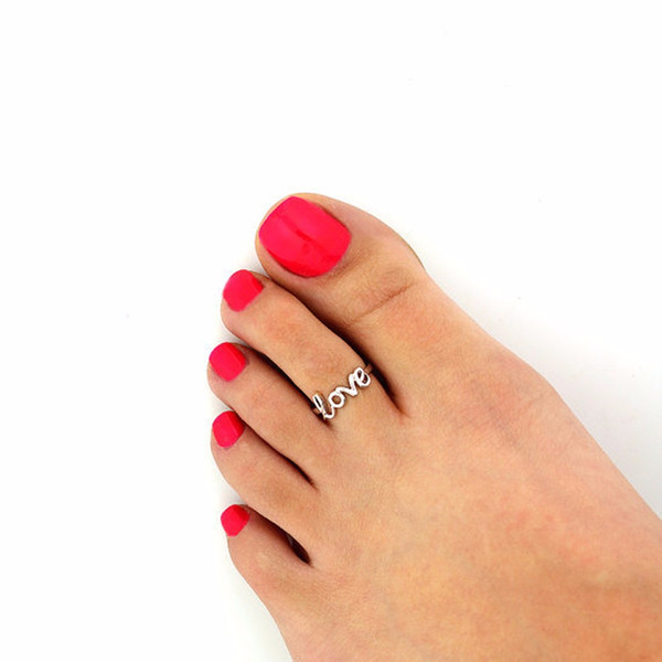 Fashion Europe Style Punk Celebrity Fashion Simple Gold Silver Retro Love Toe Ring Beach Foot Jewelry