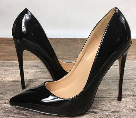 Hot Brand Shoes Woman Red Bottom High Heels Wedding Shoes Black/Red Patent Leather Women Pumps Pointed Toe Sexy High Heels Shoes Stilettos