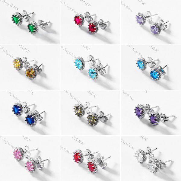 Fashion Colorful Stone Stud Earrings Décembre Lucky Stud Earrings Colorful Stud Earrings En Gros