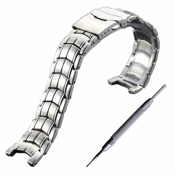 Watch Bands For EF-524 Stainless Steel Man Watch Strap Solid Curved End Brand Watchband Waterproof + Tool