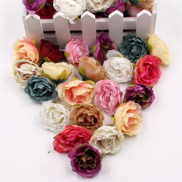 100pcs floraison de fleurs artificielles en tissu pivoine pour la chambre de mariage maison chaussures chapeaux décoration mariage fleurs en soie