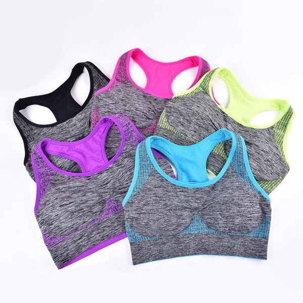 5 Colors Quick Dry Brassiere Women Fitness Top Yoga Breathable Seamless Padded Sport Bra Sexy Elastic Sports Underwear
