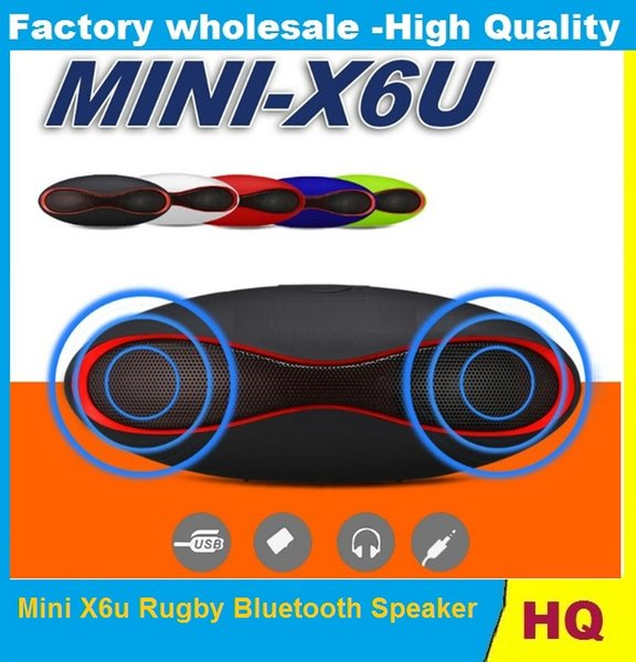 Mini X6u Rugby Bluetooth Speaker Hands-free V3.0 Audio Portable Wireless Stereo Speakers MP3 Player Subwoofer U Disk TF Card With Retail Box