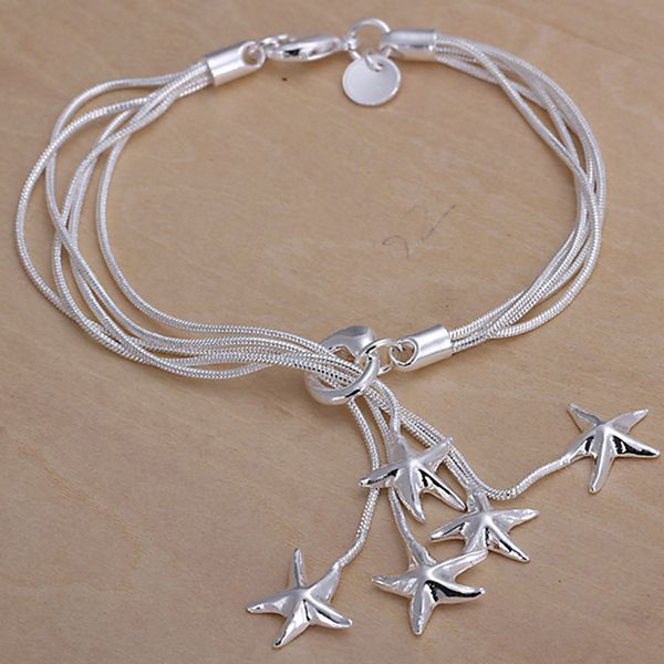 Fine 925 Sterling Silver Bracelet,XMAS New Style 925 Silver Chain stars Bracelet For Women Men Fashion Jewelry n Link Italy Percing XH099