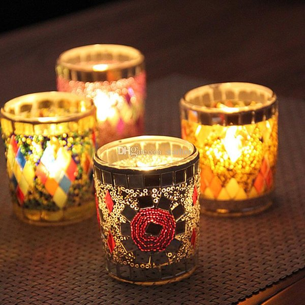 New Glass Cup Candle Holders Mosaic Crack Candlestick Home Decor Dinner Wedding Party Gifts Bar Decoration No Candle Free DHL WX9-320