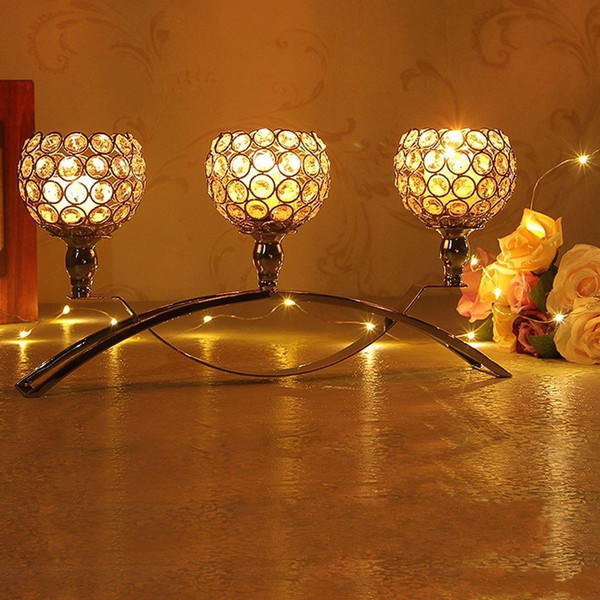 Wedding Decoration Silver 3 Arms Candelabra Crystal Candle Holders for Wedding Dining Coffee Table Decorative Centerpiece