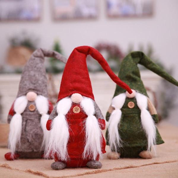 Buon Natale Elfo Peluche Bambola farcita Babbo Natale Baffo Modello Bambole Giocattoli Per Bambini Regalo di Natale Ornamento Novità Decorazione Domestica
