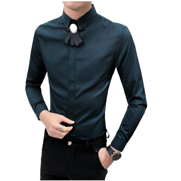 Top Quality Spring 2018 New Men Shirt Fashion Slim Fit Tuxedo Shirt Men Long Sleeve Night Club Singer Costume Dress Shirts Male