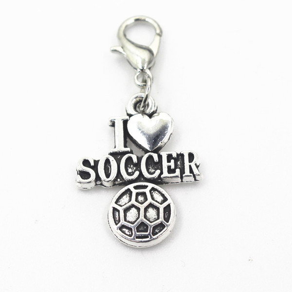 50pcs/lot I love soccer dangle charms lobster clasp hanging charms pendant/bracelet diy jewelry accessories