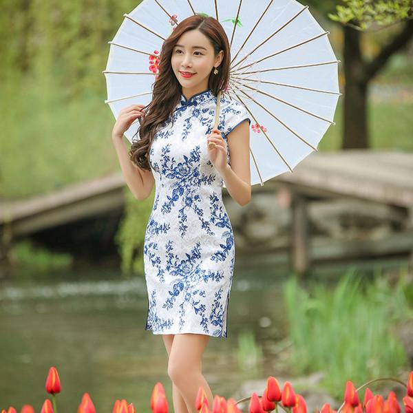 Tang Show 2017 Novas Mulheres Retro Jacquard Algodão Azul Mini Cheongsam Vestido Qipao Chinês Tradicional Vestido Sexy Slim Curto Qipao