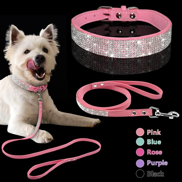 Adjustable Suede Leather Puppy Dog Collar Leash Set Soft Rhinestone Small Medium Dogs Cats Collars Walking Leashes Pink Xs S M