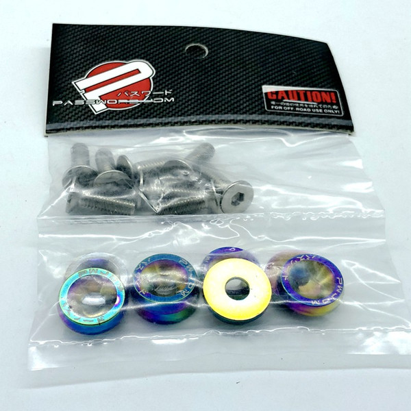 best selling Free Shipping Neo Chrome JDM Style Aluminum Fender Washers 8PCS Washer and Bolts Fit For Honda Civic Integra RSX EK EG DC