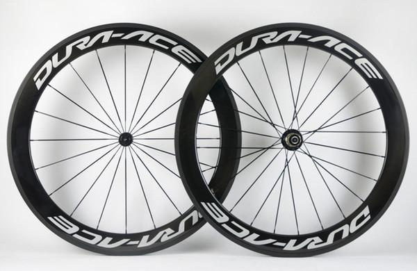 Spedizione gratuita 60mm profondità strada ACE Bike ruote in carbonio 700C 25mm larghezza copertoncino / Tubolare full carbon fibra Urltra-Light aero wheelset della bicicletta