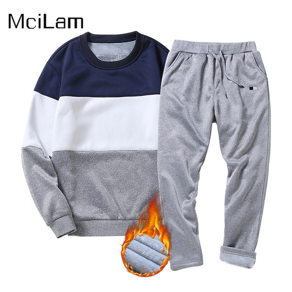 Winter Warm Sport Suit Men Tracksuit Outdoor Fleece Hoodie Sweatshirt Hooded Jacket+Pants Sets Sportswear