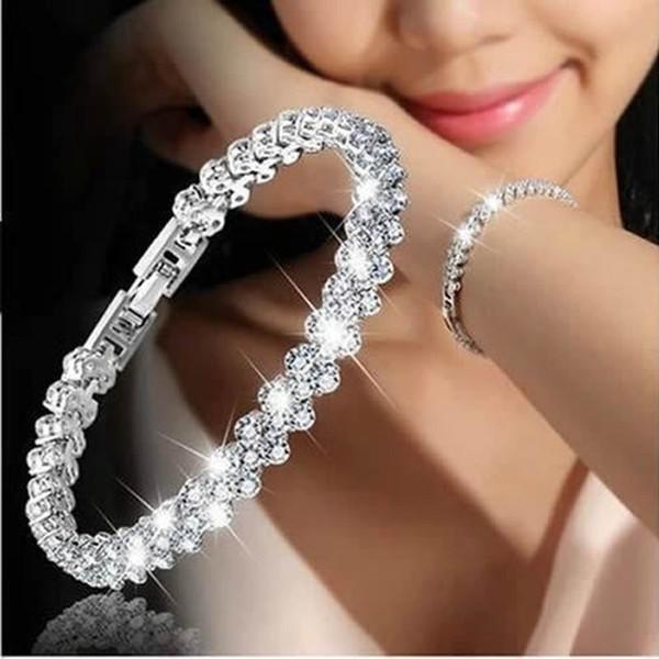 Luxury Roman Crystal Bracelet Fine Jewelry 16.5cm*7mm Silver Rose Gold Color Rhinestone Chain Bracelets For Women Gift