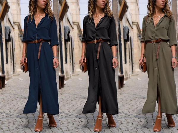 2018 neue Herbst Winter Damenbekleidung, lange Ärmel, gespaltene Taschen, Oberkörper-Futter, lang