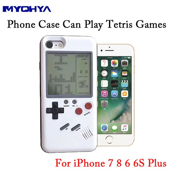 MYOHYA Game Console Cover Case TPU Back Cover For Iphone 7 8 6 6S Plus Multi Phone Case Can Play Tetris Game Gift For Child Kids