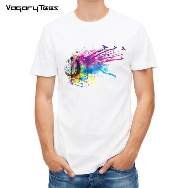 2018 Geek Brain T Shirt Art Cool Fashion Punk T-shirt Casual Funny Style Unisex Tee