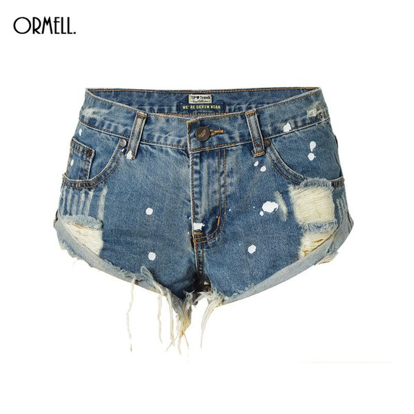 ORMELL Vintage Ripped Hole Fringe Blue Denim Shorts Women Casual Painting Point Pocket Jeans Shorts 2017 Summer Girl Hot