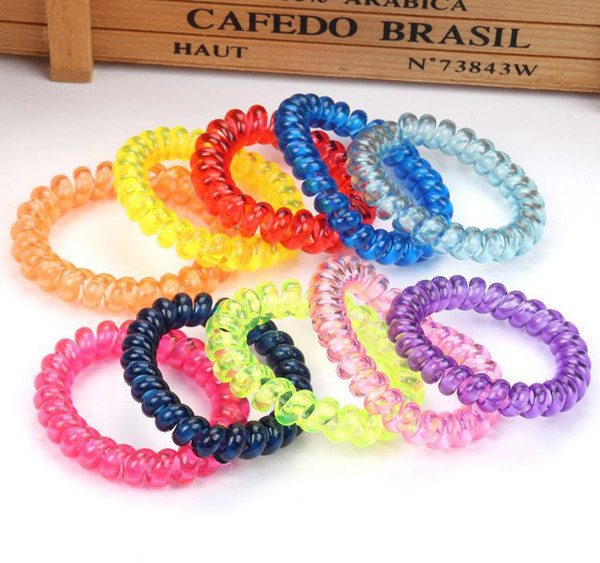 best selling New Fashion Telephone Wire Elastic Hair Bands Rope Hair Ring Tie Gum Spiral Rubber Bands Hair Accessories For Ladies