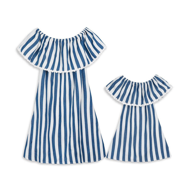 Summer Parent-Child Dresses Family Matching Clothes Mother Daughter Dresses Womens Baby Girls Striped Party Dress Family Look