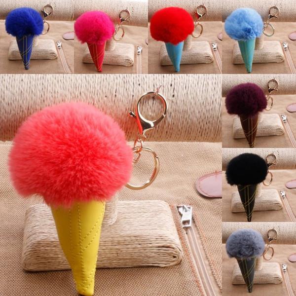 Ice Cream Keychain PU Leather Bag Key Rings Double Color Fur Ball Keyfob Ice Cream Shaped Car Handbag Keyring 17 Styles G249Q