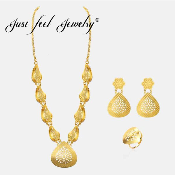 Just Feel African Jewelry Sets Gold Color Classic Wedding Necklace