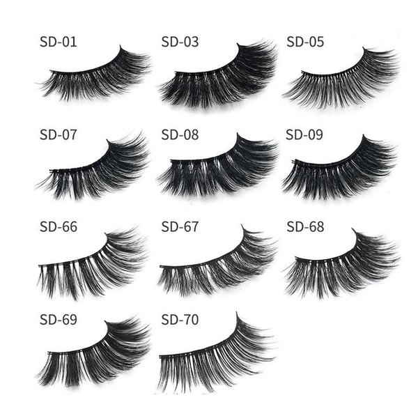 best selling Milk Eyelash 11 styles Selling 1pair lot 100% Real Siberian 3D Strip False Eyelash Long Individual Eyelashes 3D Full Lashes Extension