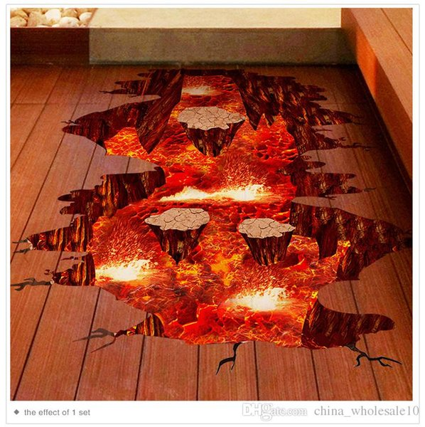 Magma 3D Wall Sticker Home Decor Living Room Bedroom Floor Decoration Removable Vinyl Material Decorative Art