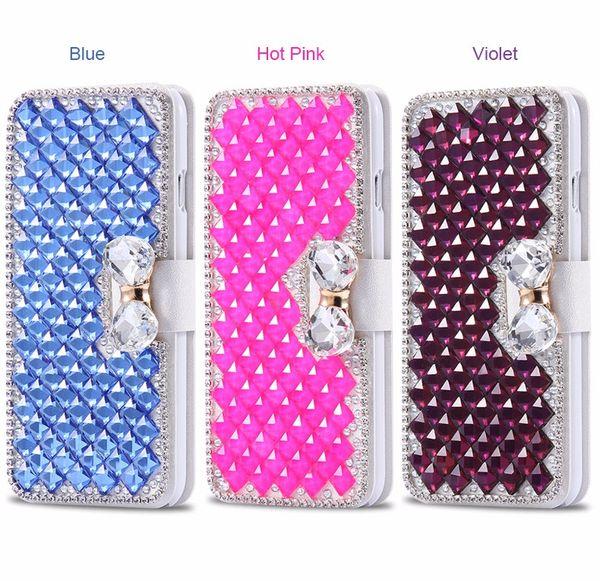 Pour LG Premier Pro LTE / LG K30, Diamond Bowknot brillant cristal strass sac à main portefeuille en cuir fente pour carte pochette rabat de couverture