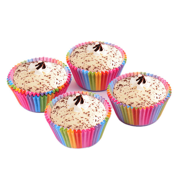 cup 100pcs/lot Paper Cups Rainbow Color Cupcake Liner Baking Muffin Cases Tray Cake Mold Wrappers