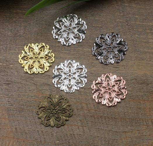 100pcs 21MM Bohemian filigree flower charms for bracelet metal gold silver flower pendants diy earring jewelry making finding