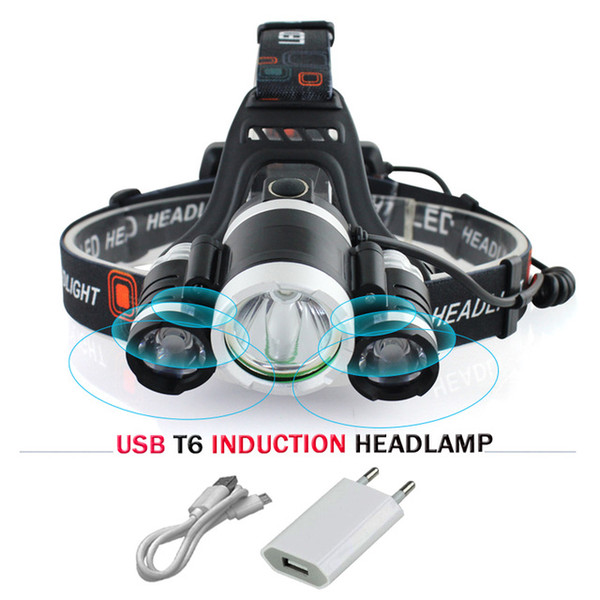 IR Sensor Induction Headlamp 3 XM-L T6 USB Rechargeable LED Headlight Flashlight Torch 18650 Battery Fishing Mining Head Lamp